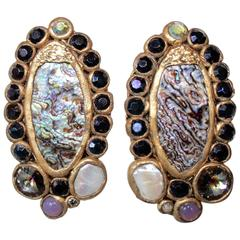 Ella K Abalone, Papier-Mâché, Mother of Pearl, and Crystal Clip Earrings