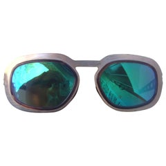 Sleek Gilt Metal Green Tinted Sun Glasses Made in Italy 1970s