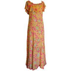 Emilio Pucci Silk Chiffon Ruffle Maxi Dress Bright Sunflower Print Deadstock 70s
