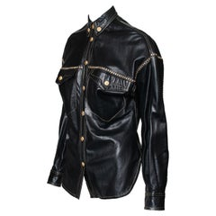 F/W 1992 Gianni Versace Couture Miss S&M Rhinestone-Studded Leather Top