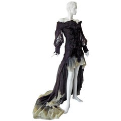 Alexander McQueen Magnificent Goth Gown by Sarah Burton (1st collection)  NEW