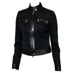 F/W 2000 Gucci by Tom Ford Black GG Monogram Denim & Leather Moto Jacket Vintage