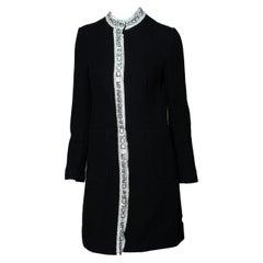 Dolce and Gabbana Rhinestone Mesh Logo Collared Tweed Coat