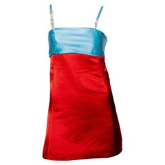 F/W 1996 Gianni Versace Satin Red & Blue Mini Dress with Rhinestone Logo Straps