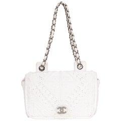 Chanel Rare White Crochet Flap Bag