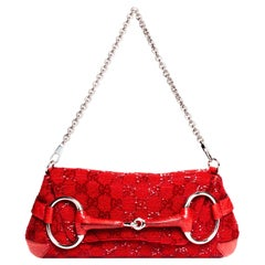 Gucci by Tom Ford Beaded GG Red Horse-Bit Convertible Chain Clutch Lizard