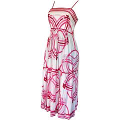 70s Emilio Pucci Cotton Sundress Pink and White Op Art Graphic Print Size 12
