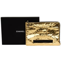 Chanel Oversize Gold Leather Clutch