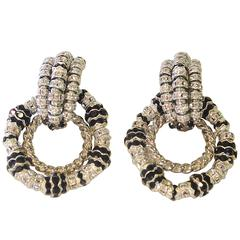 Francoise Montague Crystal Door Knocker Earrings With Removable Bottom