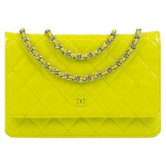 Chanel, Wallet-On-Chain in yellow patent leather