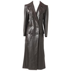 Yves Saint Laurent Double Breasted Leather Coat