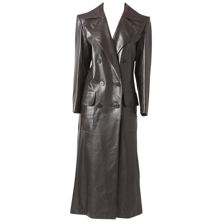 Yves Saint Laurent Double Breasted Leather Coat For Sale