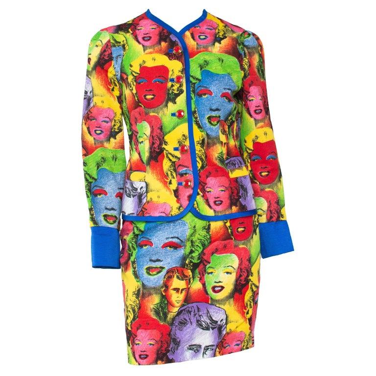 S/S 1991 Gianni Versace Marilyn Monroe Warhol Inspired Print Pop Art Skirt Suit For Sale