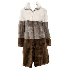 F/W 2000 Gucci by Tom Ford Tricolor Dyed Mink Zip-Up Coat Runway