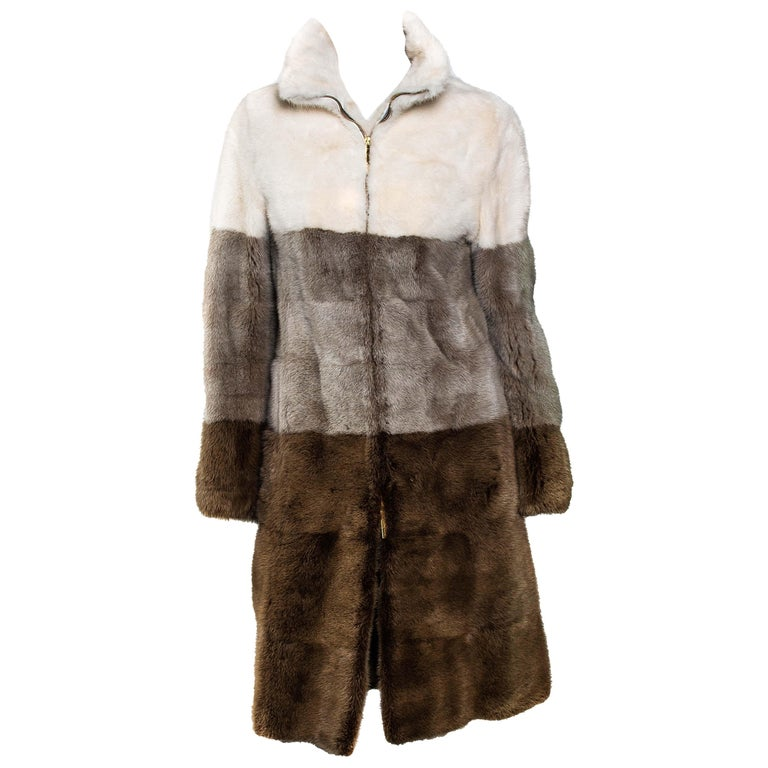 F/W 2000 Gucci by Tom Ford Tricolor Dyed Mink Zip-Up Coat Runway For Sale
