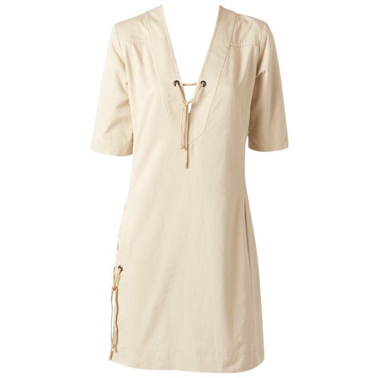Yves Saint Laurent RIve Gauche Cotton Safari Dress For Sale