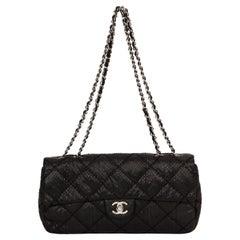 Chanel Black Python Single Flap Bag