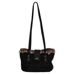 New Chanel Straw Tweed Black Bag