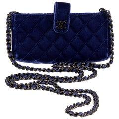 Chanel Blue Velvet Mini Crossbody Bag