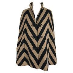 1960s Made In Italy Black & Tan Stripe Knit Cape