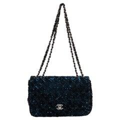 Chanel Navy & Black Sequin Evening Bag