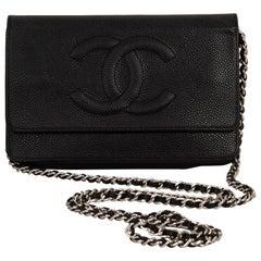 Chanel Black Caviar Lamb Crossbody Wallet on a Chain Bag