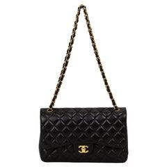 Chanel Black Lamb Jumbo Double Flap Gold Bag