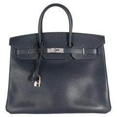 Hermès Bleu Indigo Vache Liegee Birkin 35 PHW