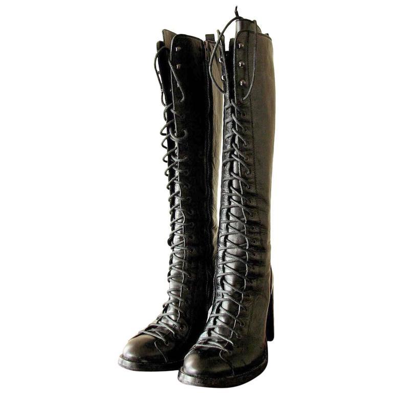 Ann Demeulemeester Talon Heel Knee Boots Black Leather Single Lace 2008 39.5