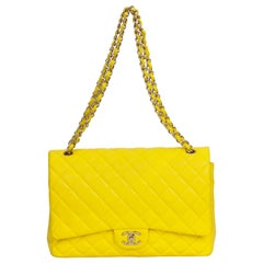 Chanel Rare Maxi Yellow Double Flap Bag
