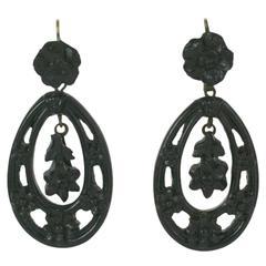 Victorian Carved Gutta Percha Earrings