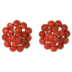 Antique Coral Button Earrings
