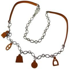 Hermes Olga Charm Belt Barenia Leather & Palladium 2012 in Box