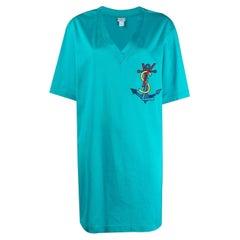 Yves Saint Laurent YSL Logo Turquoise Cotton Dress