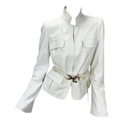 Tom Ford for Gucci F/W 2004 White Leather Rope Belted Jacket It. 46 - US 10