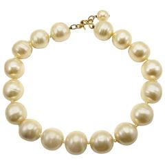 Rare Chanel Pearl Choker Necklace Baroque Poured Glass 90s Season 2 9