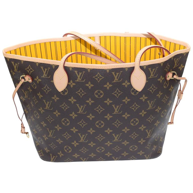 Sac Louis Vuitton Neverfull Mm : Louis vuitton neverfull mm in monogram w mimosa lining at stdibs
