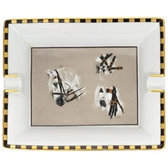 Hermès Porcelain Horse Heads Ashtray with Box