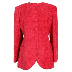 Christian Dior Boutique Red Wool Boucle Evening Blazer 1980s