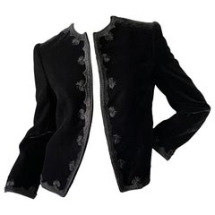 Jean-Louis Couture 1960's Black Velvet Jacket with Embroidered Details