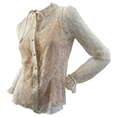 Jean-Louis Couture 1960's Sheer Lace Blouse with Ruffle Collar and Cuffs