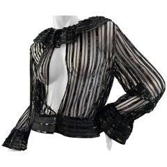 Jean-Louis Couture 1960's Sheer Beaded Evening Top with Ruffle Collar and Cuffs