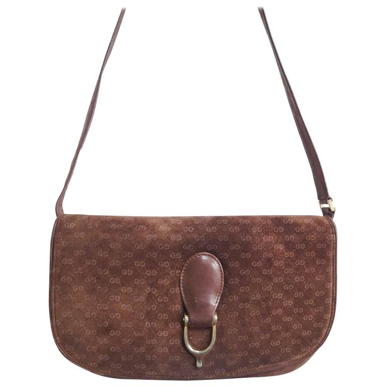 1stdibs 1980s Gucci Chocolate Brown Suede & Leather Shoulder Bag Or Clutch pFdw1srul