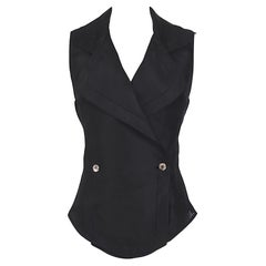 Gianfranco Ferre vintage black silk organza vest