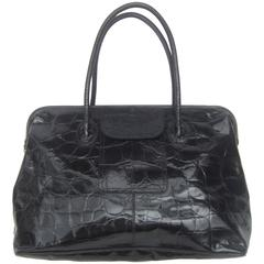 Furla Italy Black Embossed Leather Tote Style Handbag