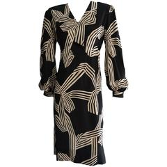 PAULINE TRIGERE Creme & Black Print Cocktail Dress with Bow Detail