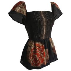 VICTOR COSTA Rose Print Lame Corset Top with Peplum & Sleeve Detail
