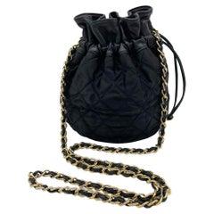 Vintage Chanel Black Satin & Leather Drawstring Bucket Bag
