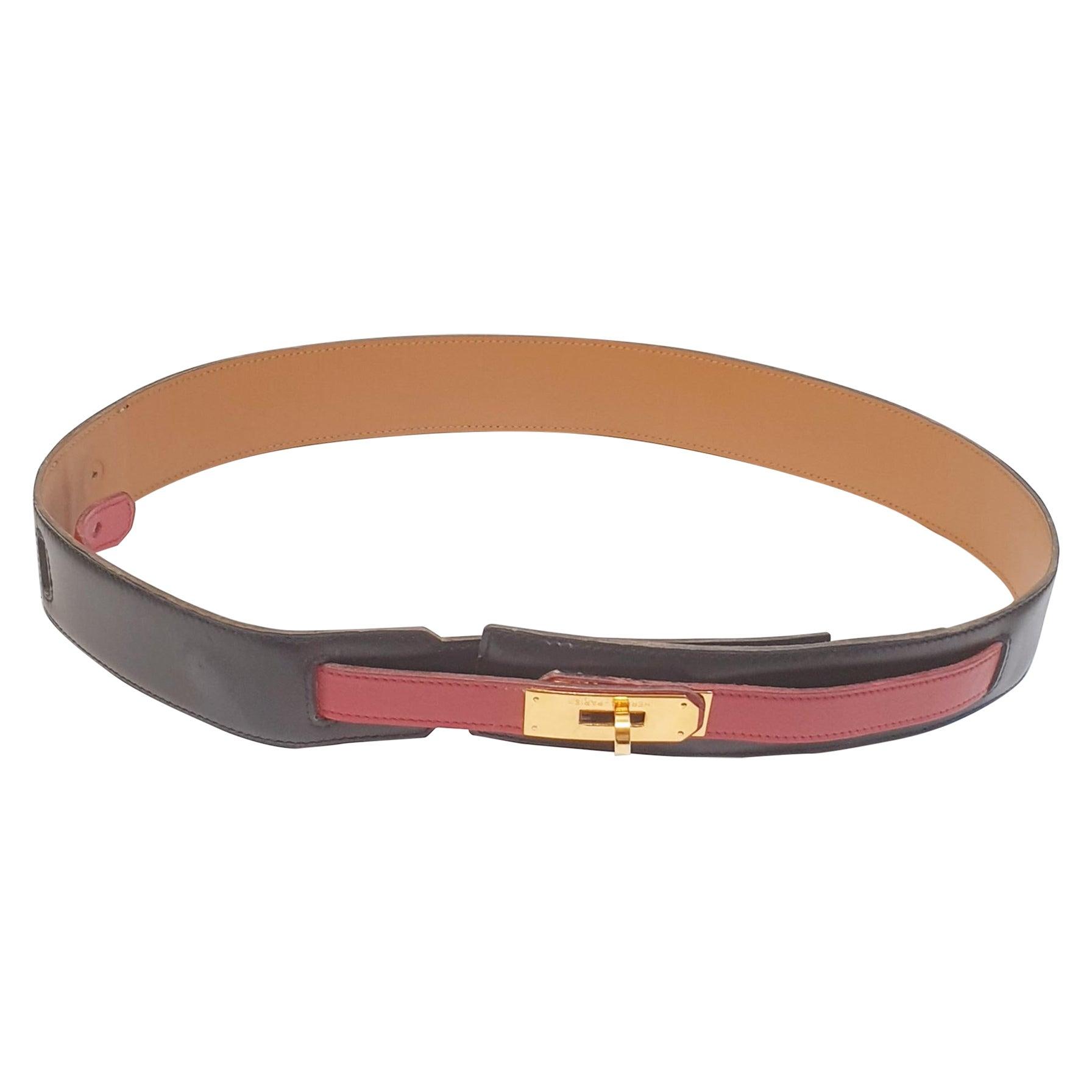 Hermes Kelly Women's Belt Black Epsom Leather Gold Hardware