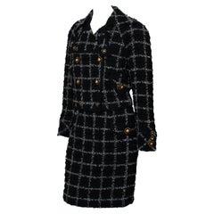 F/W 1993 Gianni Versace Double-Breasted Tweed Skirt Suit Medusa Runway